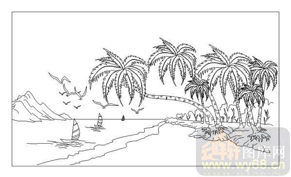 装饰玻璃-06传统壁画大屏风-椰子树-00006图片