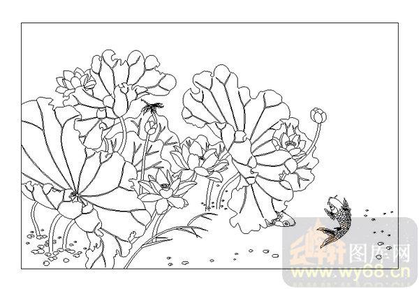 黑白鲤鱼手绘墙画